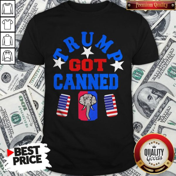 Top Trump Got Canned Elephant Beer American Flag Shirt