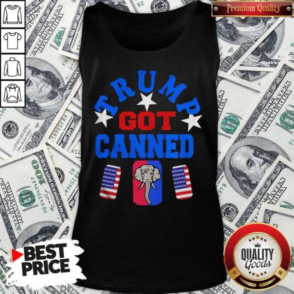 Top Trump Got Canned Elephant Beer American Flag Tank Top