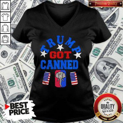 Top Trump Got Canned Elephant Beer American Flag V-neck