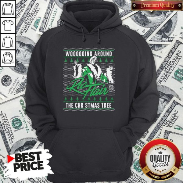 Top Woooooing Around Ugly Faux Knit Ric Flair The Christmas Tree Hoodie
