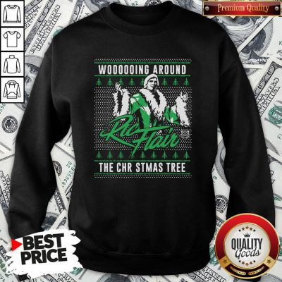 Top Woooooing Around Ugly Faux Knit Ric Flair The Christmas Tree SweatShirt