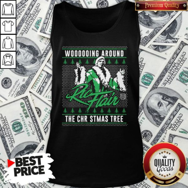 Top Woooooing Around Ugly Faux Knit Ric Flair The Christmas Tree Tank Top