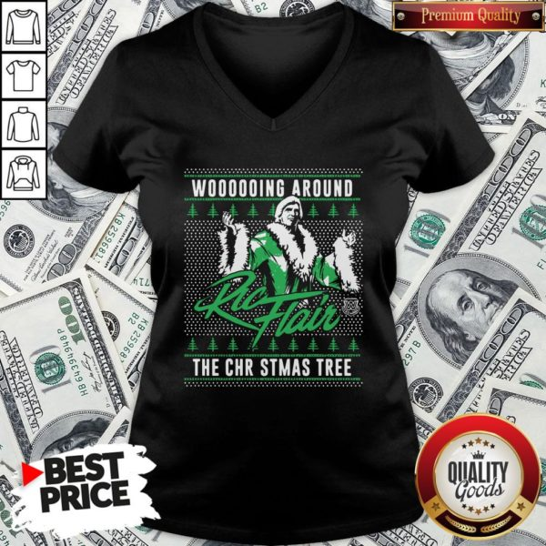 Top Woooooing Around Ugly Faux Knit Ric Flair The Christmas Tree V-neck