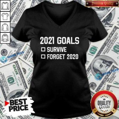 2021 Goal Survive Forget 2020 New Year Quarantine V-neck- Design by Waretees.com
