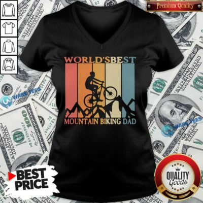 Best Mtb Dad Ever V-neck- Design by Waretees.com