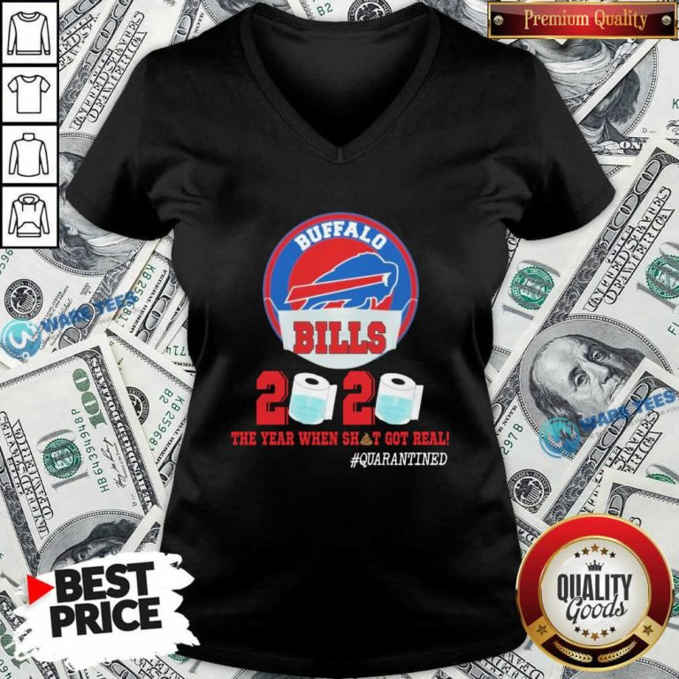 Buffalo Bills Face Mask 2020 Toilet Paper The Year When Shit Got Real #Quarantined V-neck- Design by Waretees.com