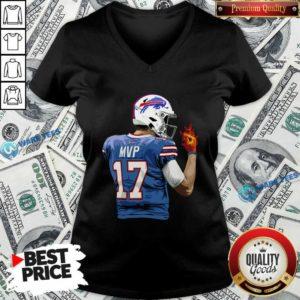 Buffalo Bills Josh Allen Hot Hand V-neck- Design by Waretees.com