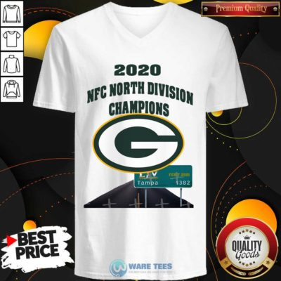 Green Bay Packers 2020 Nfc North Division Champions Tampa V-neck- Design by Waretees.com