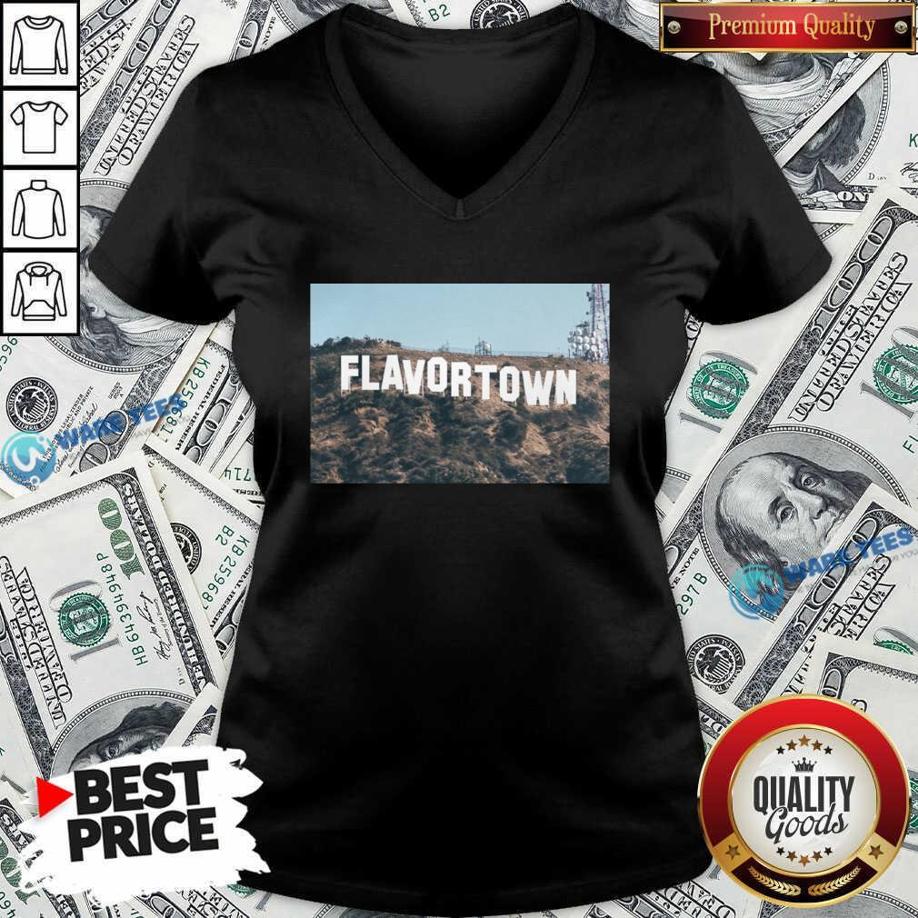 Guy Fieri Merch Flavortown Sign V-neck- Design by Waretees.com