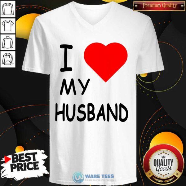 I Love My Husband V-neck- Design by Waretees.com