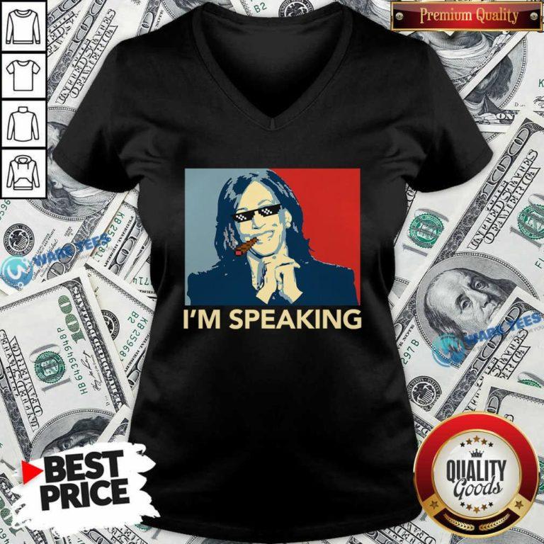 Awesome I'm Speaking Funny Kamala Harris Thug Biden 2020 V-neck - Design by Waretees.com
