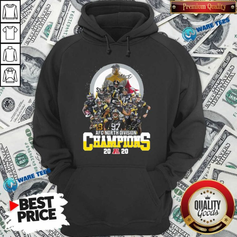 Pittsburgh Steelers 2020 Afc North Division Champions Signatures 2020 Hoodie- Design By Waretees.com