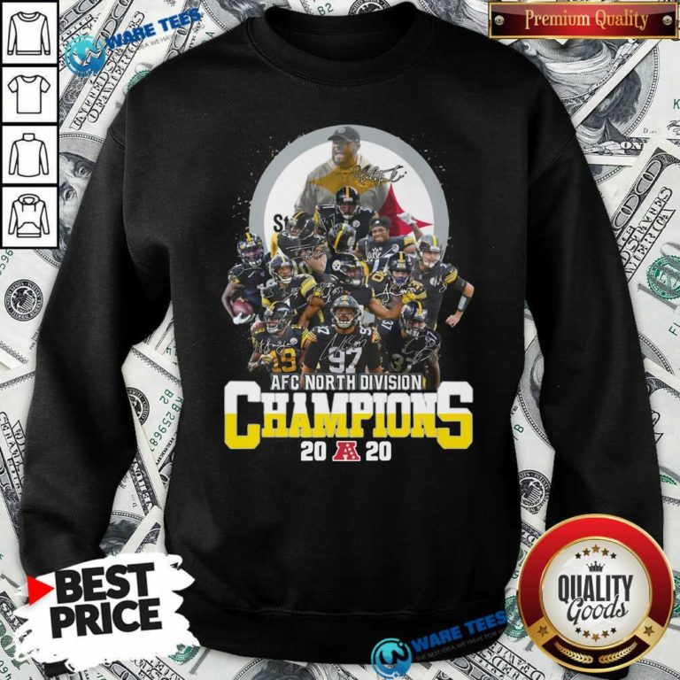 Pittsburgh Steelers 2020 Afc North Division Champions Signatures 2020 Sweatshirt- Design By Waretees.com