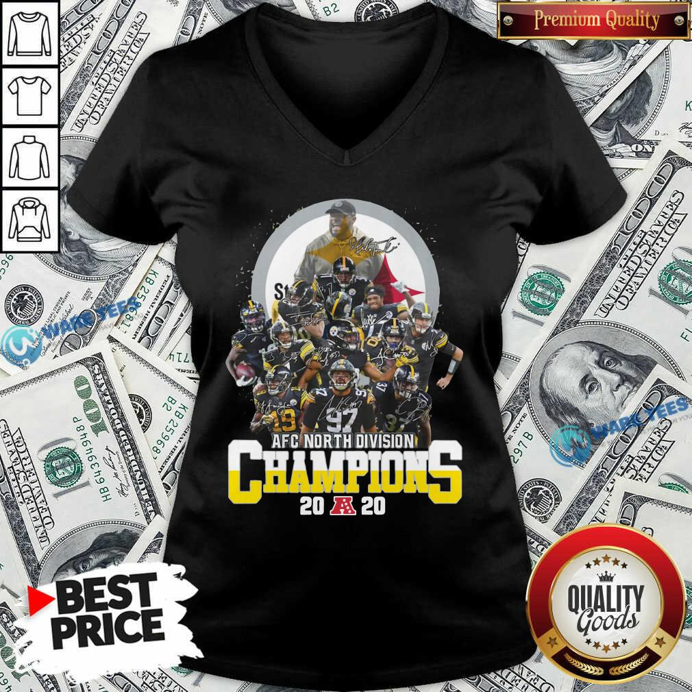 Pittsburgh Steelers 2020 Afc North Division Champions Signatures 2020 V-neck- Design By Waretees.com