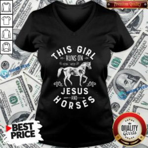 Awesome This Girl Runs On Jesus And Horses Christian Horse Rider V-neck - Design by Waretees.com