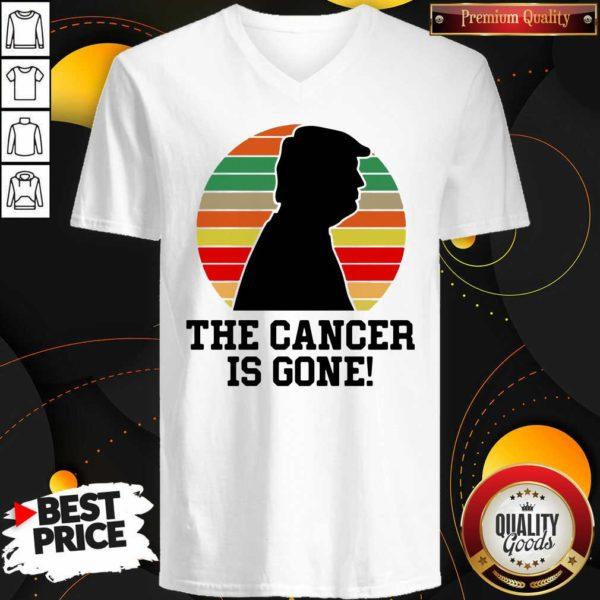 Trump The Cancer Is Gone V-neck - Design By Waretees.com