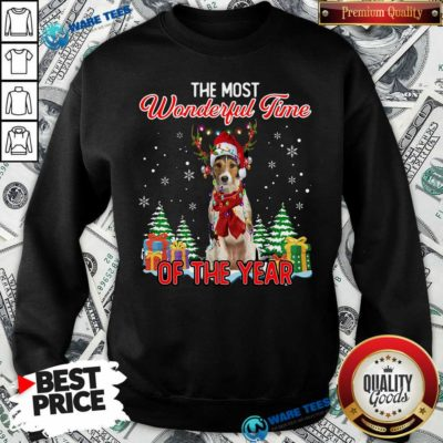 Awesome Wire Fox Terrier The Most Wonderful Time Of The Year Christmas Sweatshirt- Design by Waretees.com