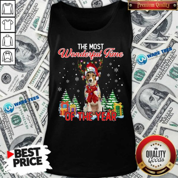 Awesome Wire Fox Terrier The Most Wonderful Time Of The Year Christmas Tank Top- Design by Waretees.com