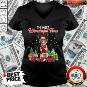 Awesome Wire Fox Terrier The Most Wonderful Time Of The Year Christmas V-neck- Design by Waretees.com