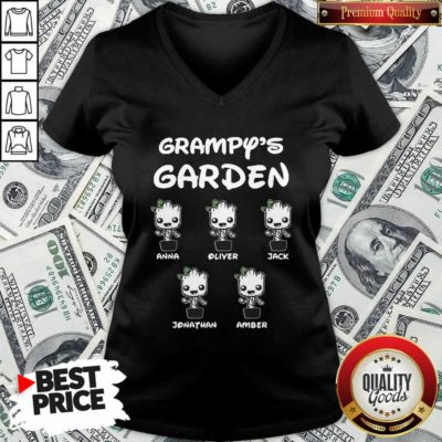 Baby Groot Grampy's Garden Anna Liter Jack Jonathan Amber V-neck - Design By Waretees.com