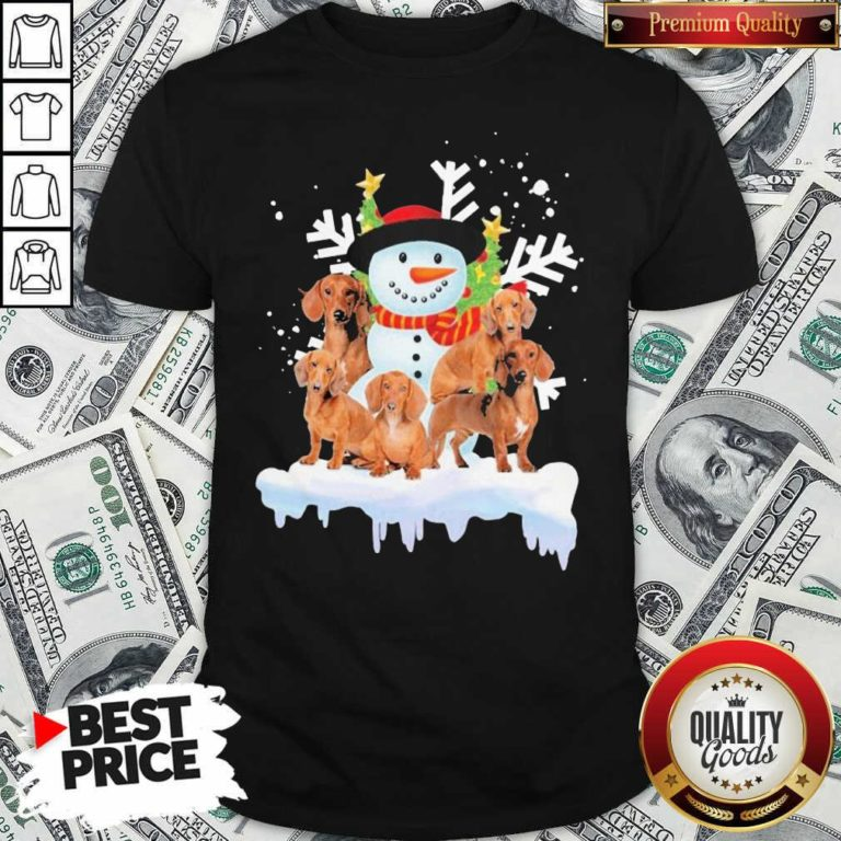 Dachshunds And Snowman Happy Merry Christmas Shirt - Design By Waretees.com