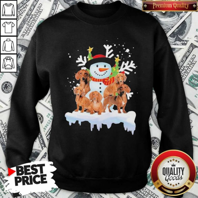 Dachshunds And Snowman Happy Merry Christmas Sweatshirt - Design By Waretees.com
