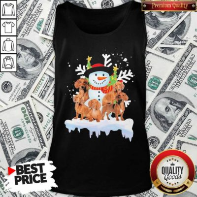 Dachshunds And Snowman Happy Merry Christmas Tank Top - Design By Waretees.com
