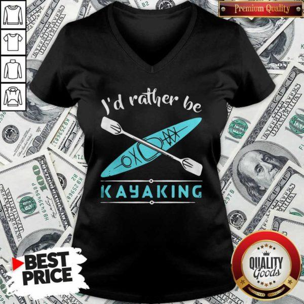 Cute Id Rather Be Kayaking Kayak V-neck - Design by Waretees.com