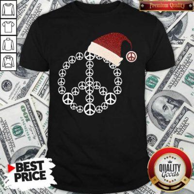 Cute Santa Hat Peace Merry Christmas Shirt - Design by Waretees.com
