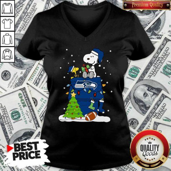 Snoopy Merry Christmas NFL Seahawks Unisex V-neck - Design By Waretees.com