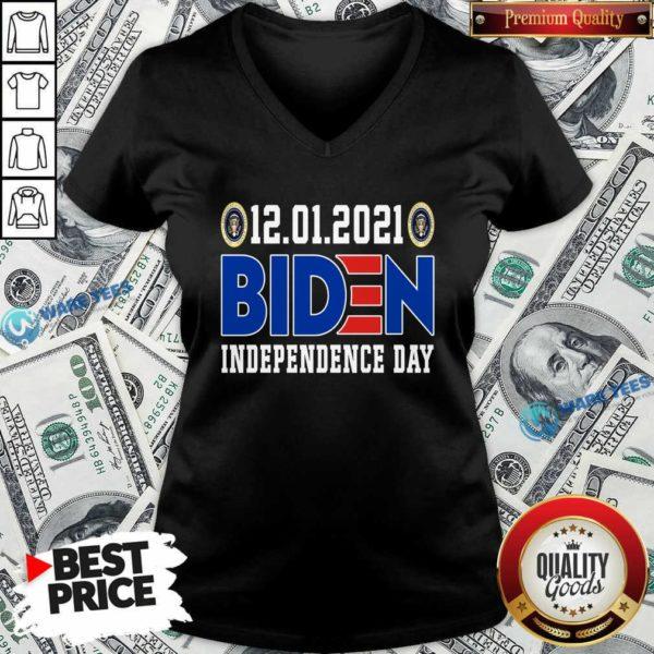 12.01.2021 Biden Independence Day V-neck- Design by Waretees.com