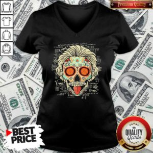 Einstein Scientist Skugar Skull V-neck - Design By Waretees.com