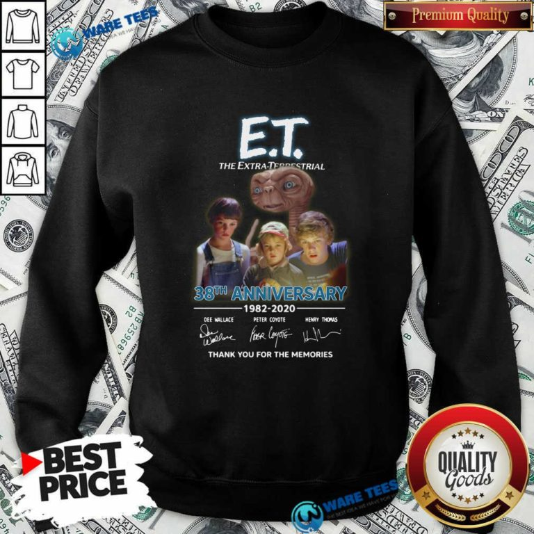Et The Extra Terrestrial 38th Anniversary 1982 2020 Thank You For The Memories Signatures Sweatshirt- Design by Waretees.com