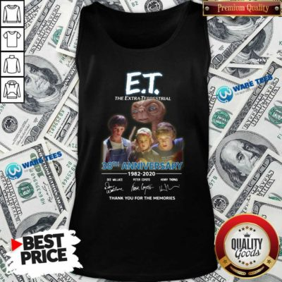 Funny Et The Extra Terrestrial 38th Anniversary 1982 2020 Thank You For The Memories Signatures Tank-Top- Design by Waretees.com