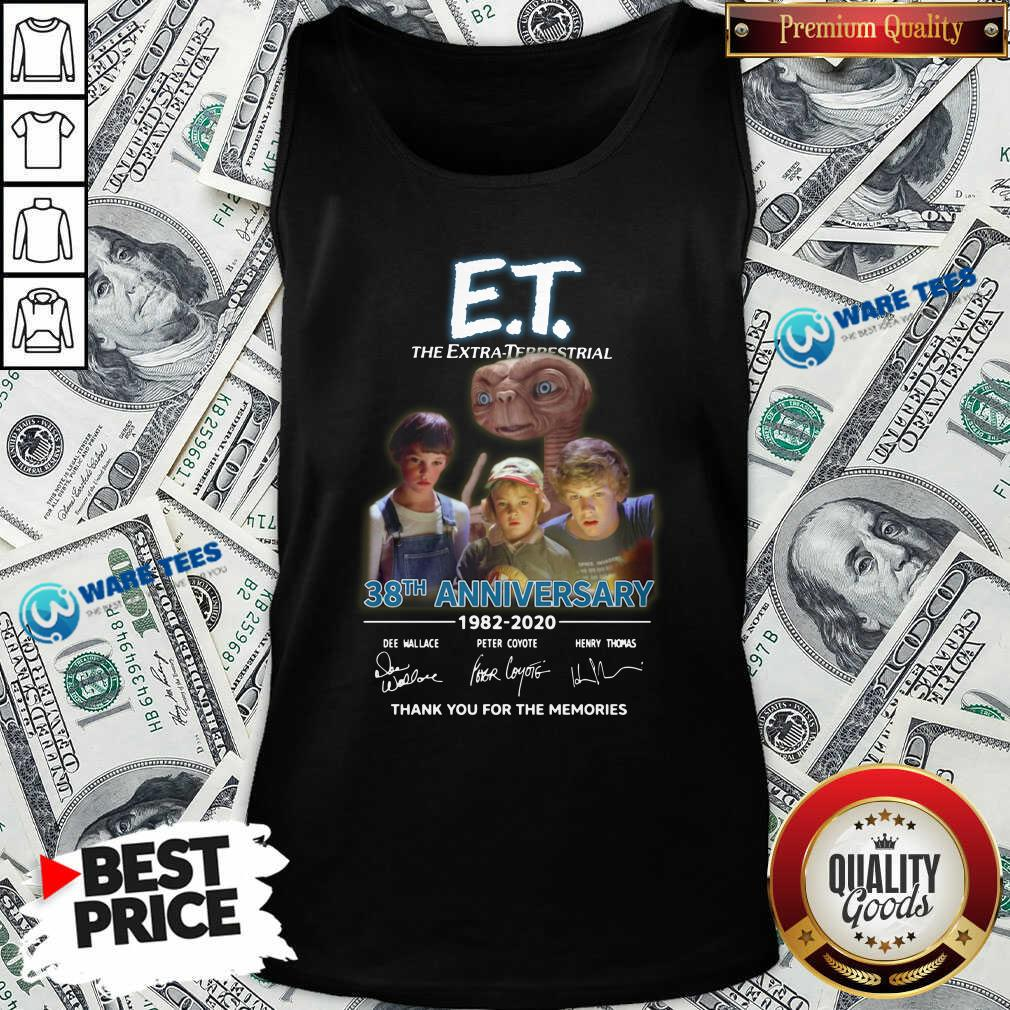 Et The Extra Terrestrial 38th Anniversary 1982 2020 Thank You For The Memories Signatures Tank-Top- Design by Waretees.com