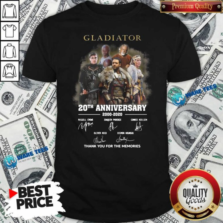 Gladiator 20th Anniversary 2000 2020 Thank You For The Memories Signatures Shirt- Design by Waretees.com