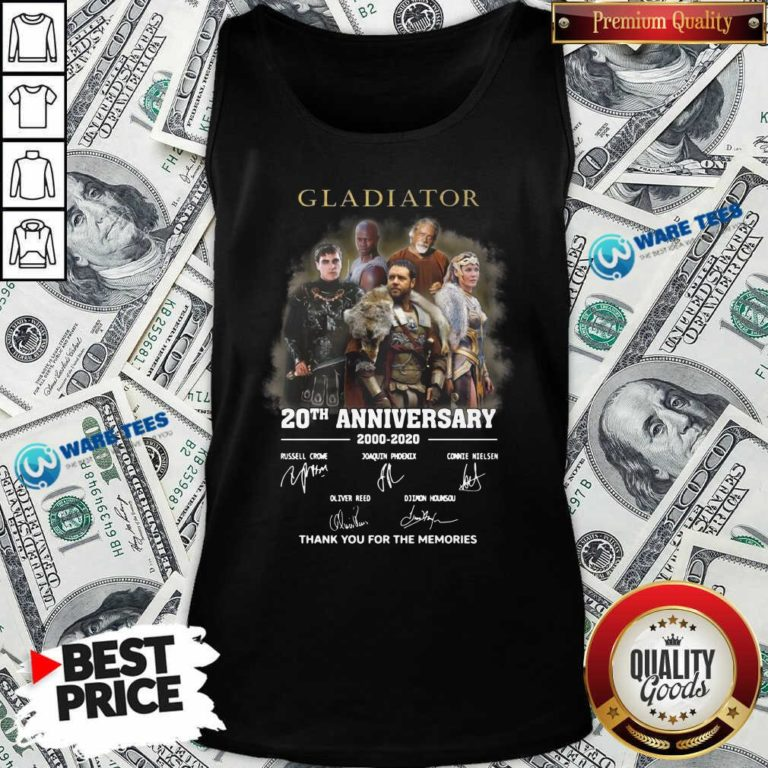 Gladiator 20th Anniversary 2000 2020 Thank You For The Memories Signatures Tank-Top- Design by Waretees.com