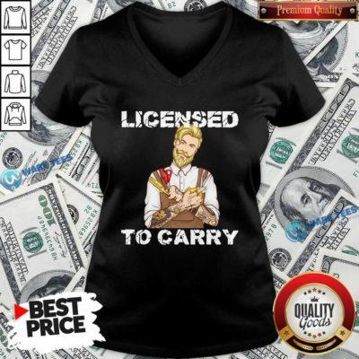 Hairdresser Licensed To Carry V-neck- Design by Waretees.com
