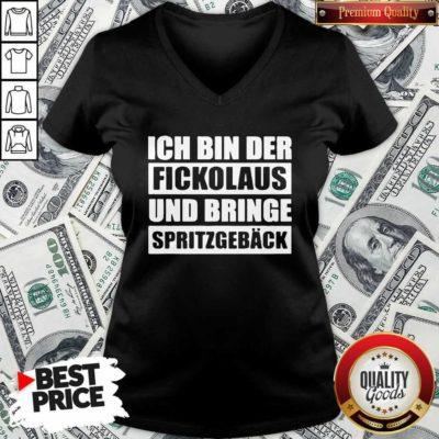 Ich Bin Der Fickolaus Und Bringe Spritzgebäck V-neck - Design by Waretee.com
