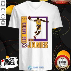Los Angeles Lakers Lebron James 23 V-neck- Design by Waretees.com