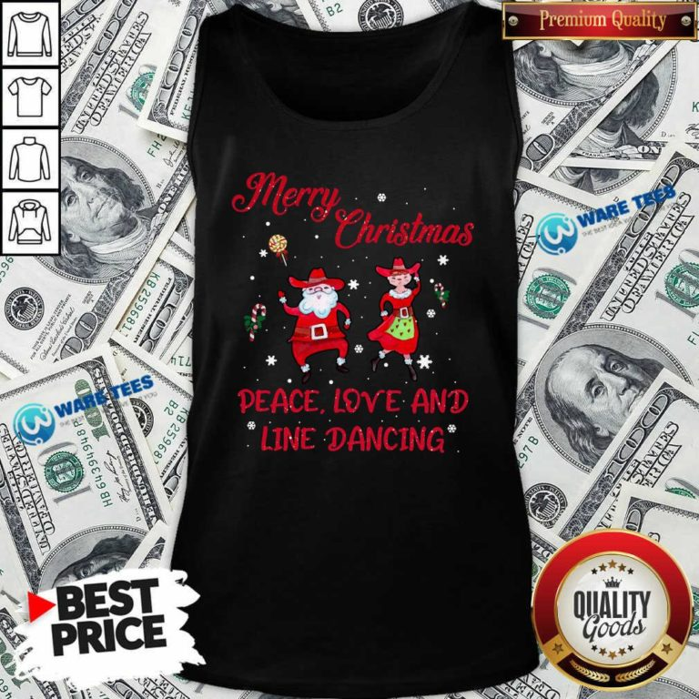 Funny Merry Christmas Peace Love And Line Dancing Tank Top - Design by Waretees.com