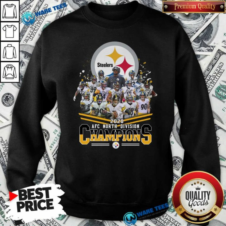Pittsburgh Steelers 2020 Afc North Division Champions Signatures Tee Sweatshirt- Design By Waretees.com