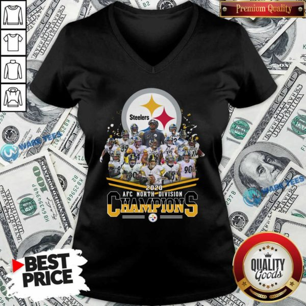 Pittsburgh Steelers 2020 Afc North Division Champions Signatures Tee V-neck- Design By Waretees.com