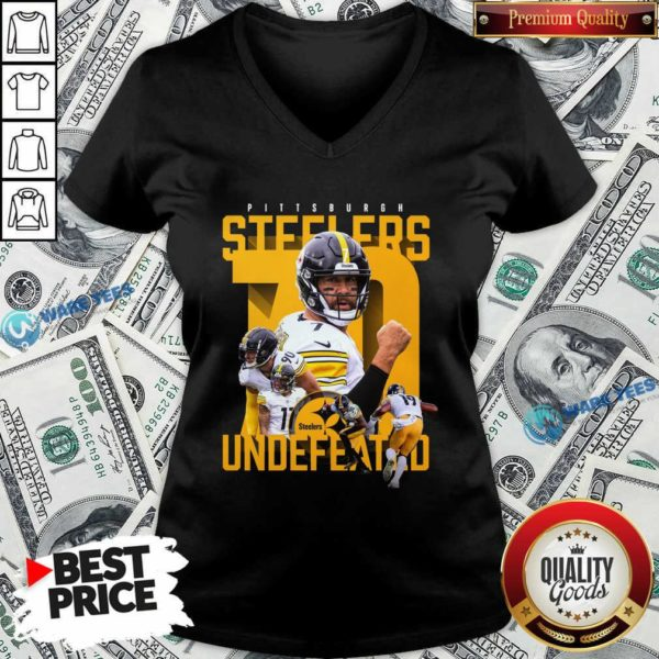 Pittsburgh Steelers Undefeated 70 V-neck- Design by Waretees.com