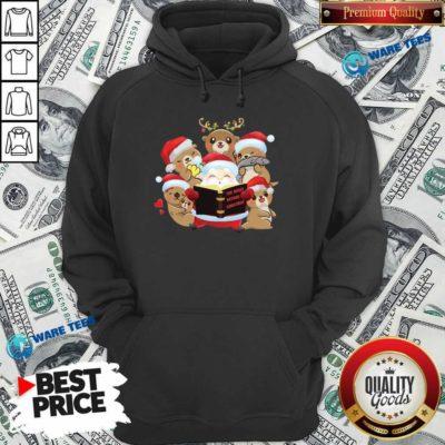 Santa And Sloth Reindeer The Night Before Christmas Hoodie- Design by Waretees.com