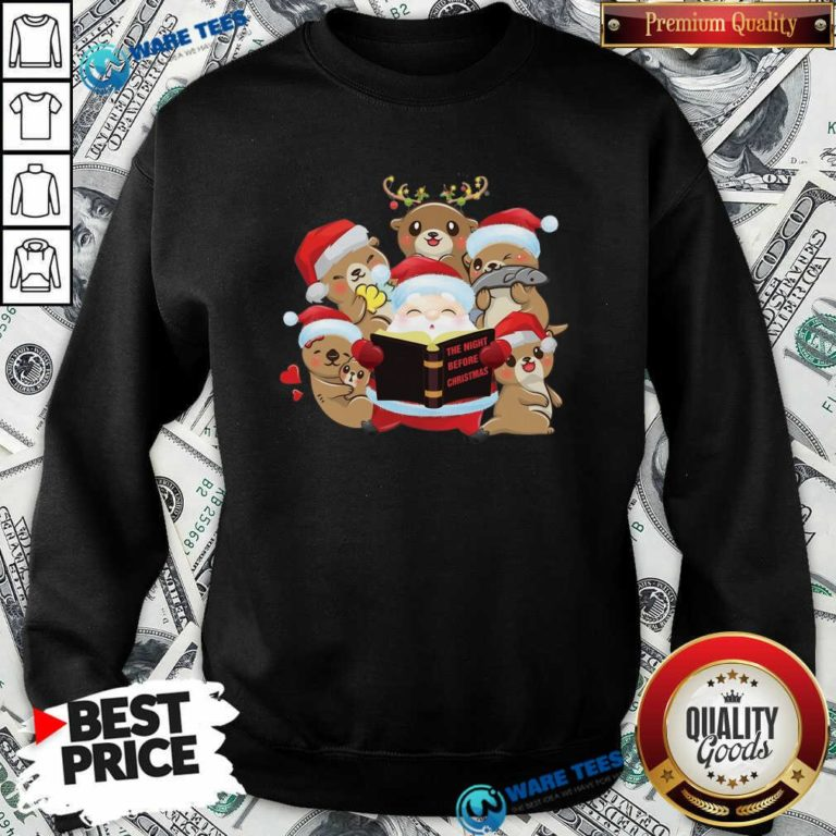 Santa And Sloth Reindeer The Night Before Christmas Sweatshirt- Design by Waretees.com