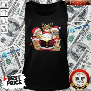 Santa And Sloth Reindeer The Night Before Christmas Tank-Top- Design by Waretees.com