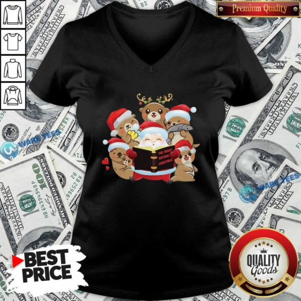 Santa And Sloth Reindeer The Night Before Christmas V-neck- Design by Waretees.com