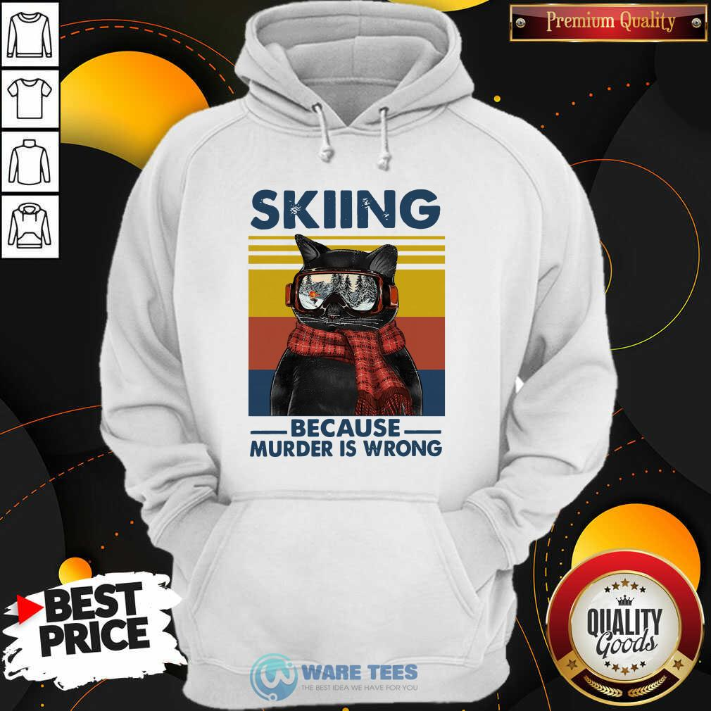 Black Cat Skiing Because Murder Is Wrong Vintage Retro Hoodie- Design by Waretees.com