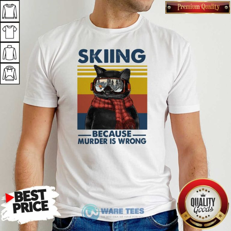 Black Cat Skiing Because Murder Is Wrong Vintage Retro Shirt- Design by Waretees.com
